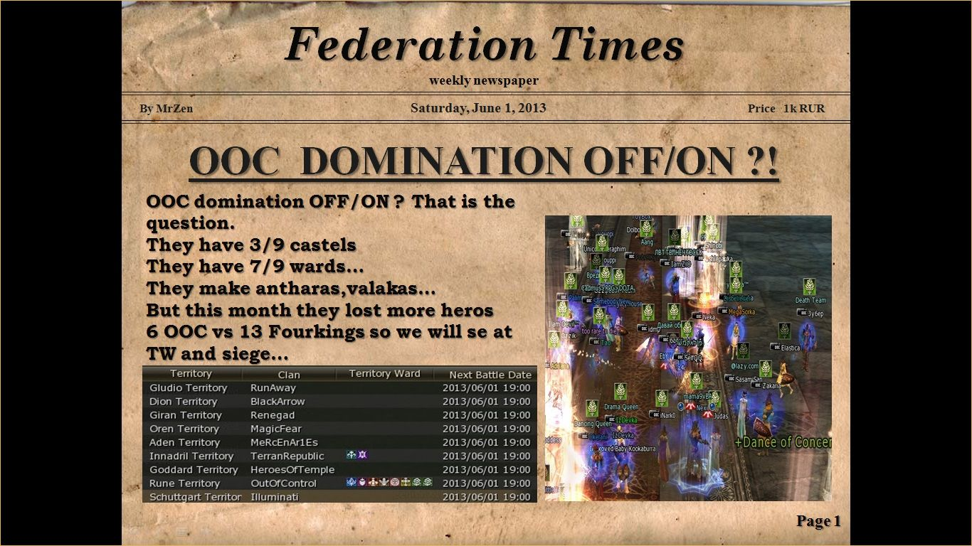 • FEDERATION TIMES  weekly newspaper No.1 •, lineage unofficial, lineage 2 x10000